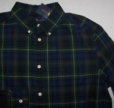 NWT Ralph Lauren Boy Green/Blue/Black PLAID Button-Down Shirt POLO PONY XL 18/20