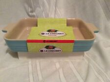 New Le Creuset Sky Blue Rectangular Baking Stoneware Dish 12.2 In.