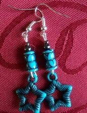 Acrylic ethnic, tribal turquoise bead, haematite bead silver plated, hook  295