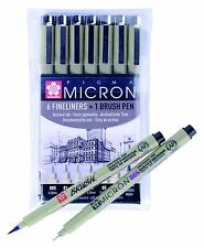 Sakura Pigma Micron Set of 6 x Black Archival Ink Fine Liner Pens & 1 Brush Pen