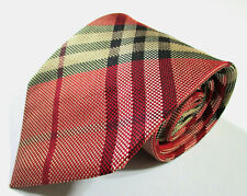 Burberry London Plaid Checks Pattern Red Color Silk Necktie Tie Made In Japan