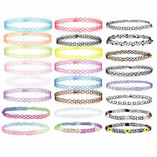 24PCS Choker Rainbow Flowers Stretch Tattoo Henna Necklace Girls Kids Gift Set