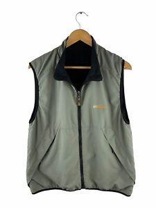 Quicksilver Reversible Full Zip Vest Men Size S Green Black Pockets Fleece Lined