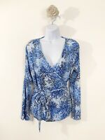 Joe Browns Branch Blue Long Sleeve ladies Wrap Blouse Size 12 Fashion Blogger