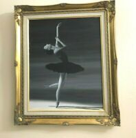 Framed Quality Hand Painted Oil Painting: Portrait of a Ballerina, 21.5 x 25 In