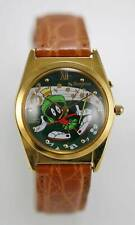 Warner Bros Watch Musical Marvin The Martian Brown Leather Stainless Gold Quartz