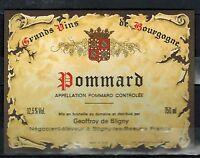 Etiquette de Vins -Alcool -  Pommard - Bourgogne - New  - Réf.n°161