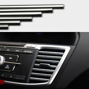 10Pcs Car Accessories Air Conditioner Air Outlet Decoration Strips Bright Silver