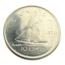 1971 Canada Ten 10 Cents Nickel Dime Uncirculated New Coin Fresh From Roll A255