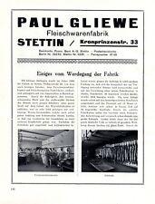 Gliewe Fleischwaren Fabrik Stettin XL Reklame 1924 Szczecin Polen Werbung +