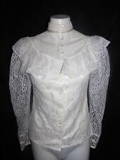 Vintage Gunne Sax Blouse Shirt Size 9 Lace Overlay Ruffle Victorian Wedding Top