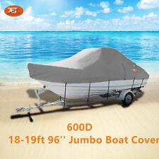Heavy-Duty 600D 18-19ft (5.4-5.7m) 96'' Trailerable Jumbo Boat Cover Light Gray