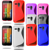 S Line Wave Silicone Gel Case Phone Cover For Motorola Moto G 1st + Screen