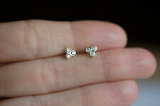 Diamond Three Stone Stud Earrings Triangle 14k White Gold Over FREE SHIPPING
