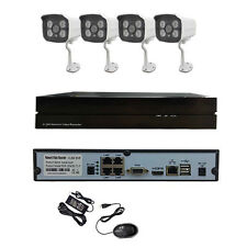 HJT 4CH POE Camera System HD 960P CCTV Outdoor Security P2P NVR KIT IP 4IR Night