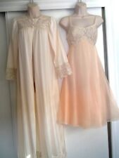 Vintage Lt. Peach Nylon Nightgown & Robe - Lace~Small