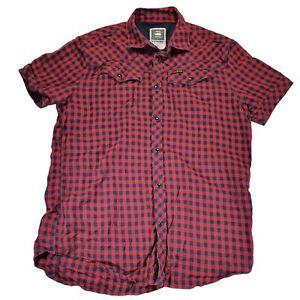 Gstar G-Star Raw Shirt Mens Red Check Short Sleeve Pearl Snap Cotton Size XL