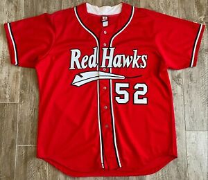 Team Issued Fargo-Moorehead Red Hawks Red #52 Baseball Jersey-Minor League-Sz 52
