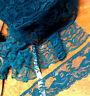 """VINTAGE TEAL FLOWER MOTIF LACE 2 sizes 2"""" or 4"""" 1yd Made in France Scallop Edge"""