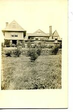 Large House-Home-Front Lawn-Stone Wall-RPPC-Vintage Real Photo Postcard
