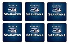 "SEATTLE SEAHAWKS COASTERS 1/4"" BAR & BEER SET OF 6"