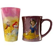 Disney 2 Cups 1 Snow White 3D Raised Purple Coffee Mug 1 Princess Club Hologram