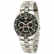 NEW Swistar 5655-M Mens Analog Swiss Quartz Day Date Black Bezel Silver SS Watch
