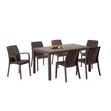 Tavolo in polipropilene 150x90 marrone con 4 sedie + 2 con braccioli da giardino