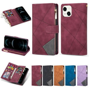 For iPhone 13 12 11 Pro Max XS XR 8 7 Luxury Leather TPU Wallet Phone Case Cover