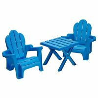 American Plastic Toys Adirondack Table and Chairs Set Blue Vintage