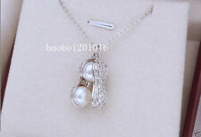 Fashion 10mm Natural White Akoya Pearl Sterling Silver Peanut Pendant Necklace