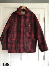Woolrich Classic Hunt Coat Wool Blend Lined Red Plaid Jacket Mens Large