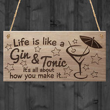 "Red Ocean ""life Is Like a Gin and Tonic It's All About How You Make It Funny W..."" Plaque Wood Brown"