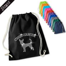 Gymnastics Bag Pouch Backpack Gym Bag Sports Bag Rhinestone Dog Chihuahua M1