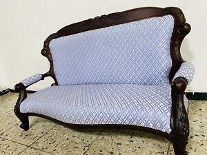Sofa Antik Couch Blau  Sofabank Sitzbank Mahagoni Polstersofa Chippendale Barock