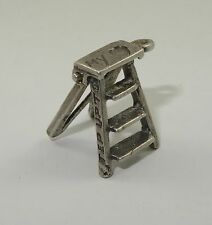 VINTAGE 40's STERLING STEP UP TO MY HEART STEP LADDER CHARM / PENDANT ~14 mm