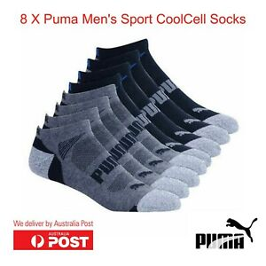 8 Pairs Puma Mens CoolCell Crew Sport Socks Shoes Sz 6-12 & 12-16 Multi New