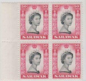 Mazuma *S39 Sarawak 1955/59 QE 50 Cents Block Of 4 With Side