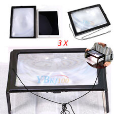 3x A4 Page Size 4 LED Foldable lights Glass Full Page Magnifier for Reading US