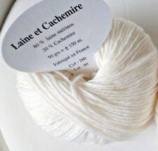 5 pelotes cachemire et laine couleur blanc cassé - FABRIQUE EN FRANCE