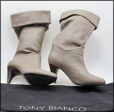 TONY BIANCO WOMEN'S MID CALF HEELED TAUPE BOOTS SIZE 9
