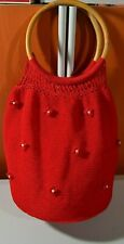 NEW CROCHET KNIT LARGE HOBO RED BAG TOTE PURSE BEAUTIFUL