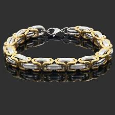 Byzantine Link Stainless Steel Bracelet Bangle 8mm Men's Chain Gold Tone Flat