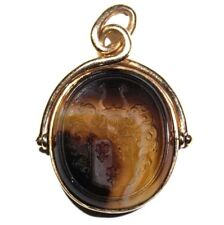 Victorian House of Bourbon Royal Arms of France14k Gold Intaglio Agate Detailed