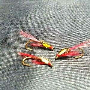 Trout Flies, 3 Unique Blood Red Diawl Bachs,Sz12, For Fly Fishing,Simple Lovely.
