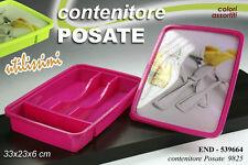 CONTENITORE PORTA POSATE CON COPERCHIO  33X23X6 CM COLORI ASSORTITI END-539664