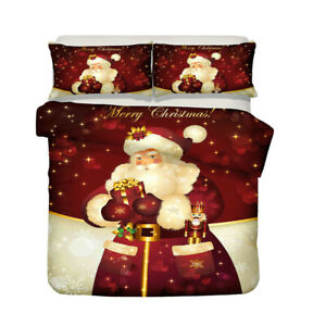 3D Christmas Santa Claus Quilt Duvet Doona Cover Set Single Double Queen King