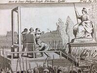 Mort de Philippe d'Orleans 1793 Guillotine Paris Révolution Française Gravure