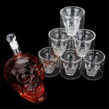 700ml Skull Decanter+6Pc 75ml Wine Cups Set Bar Wine Bottle Glass Liquor Holder