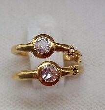 NEW unisex lovely hoop solid yellow gold 14K earrings cz  gift usa